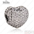 2017 Valentine Pave Heart Charm Clip Beads Fit Pan Bracelets & Bangles 925 Sterling Silver Heart Stopper Bead Shealia Jewelry