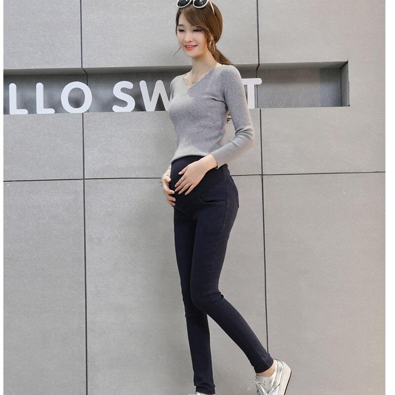 Autunno Coreano Denim Di Cotone Lavato Piedi Pantaloni A Vita Alta Nero Di Stirata Delle Donne In Gravidanza Stomaco Lift Pants