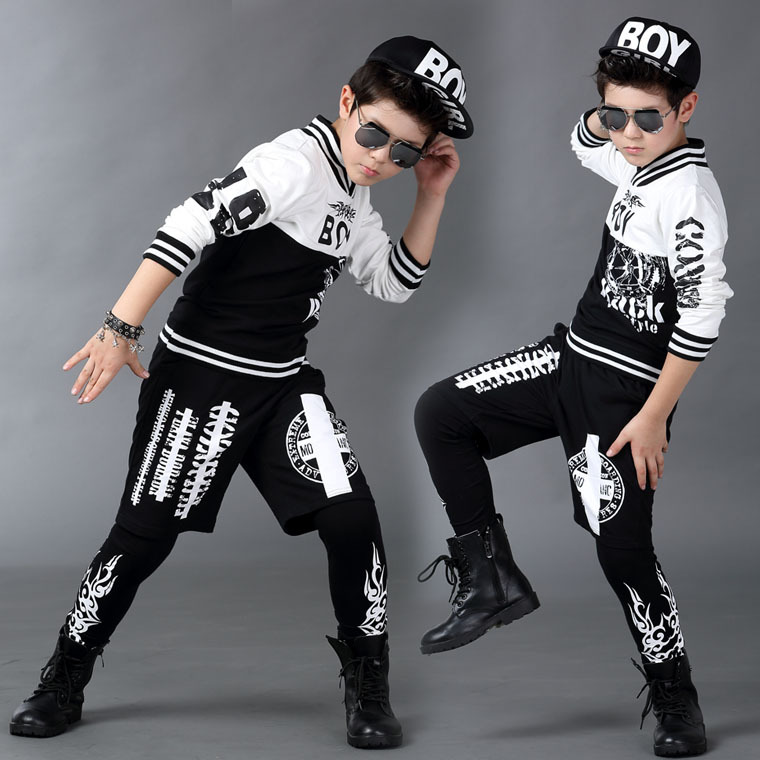 2016 Boy clothing set spring Autumn kids  suits faux two pieces Hip Hop harem pants & Black White sweatshirt twinset цены онлайн