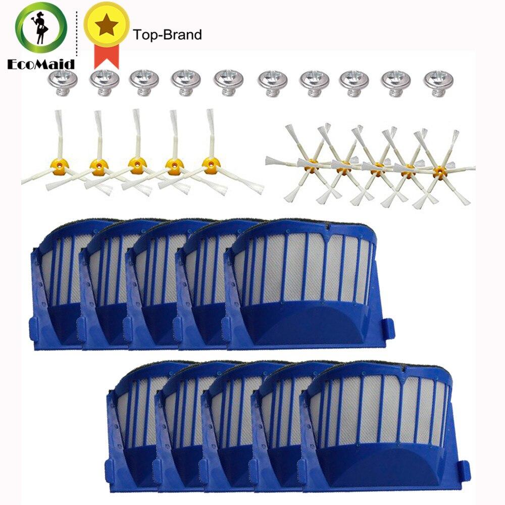 Aero Vac Filtres Brosses Latérales kit pour iRobot Roomba 500 600 Série 536 550 551 552 564 585 595 620 630 650 660 Robots De Nettoyage