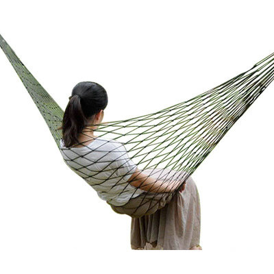 Promotion ! 150Kg Single Mesh Garden Hammock Portable Travel Camping Nylon Rope Hammock Swing Autumn Lazy Chair Outdoor Hammock