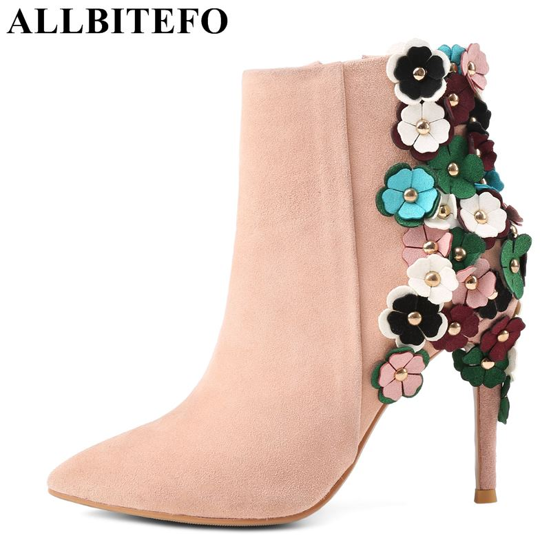 ALLBITEFO fashion brand sheepskin pointed toe high heel shoes flowers high heels wedding women shoes winter boots girls shoes