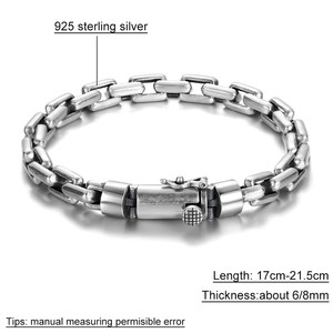Image 5 - Gagafeel 6/8 ミリメートル男性ブレスレット 925 スターリングシルバージュエリーパンク腕輪ブレスレット男性のための男性のファッションジュエリー