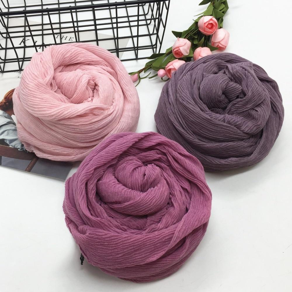 Crumpled Islamic Women Head Scarf Balinese Cotton Pleated Headwear Plain Long Shawl Wrinkled Muslim Hijab Turban Stole 90*180cm
