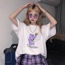 Harajuku Sweet Funny Rainbow Bear Letters Print Shirt Vintag