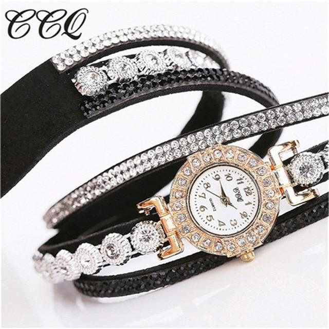 CCQ Women's Bracelet Ladies Rhinestones Clock Vintage Fashion Dress Wristwatches 5