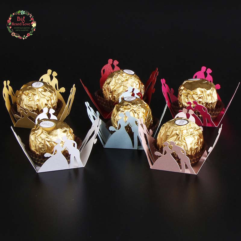 50pcs Bride And Groom Candy Box Bar Party Favors Chocolate Bar Cake Accessories Wedding Favors Chocolate Box Party Decoration