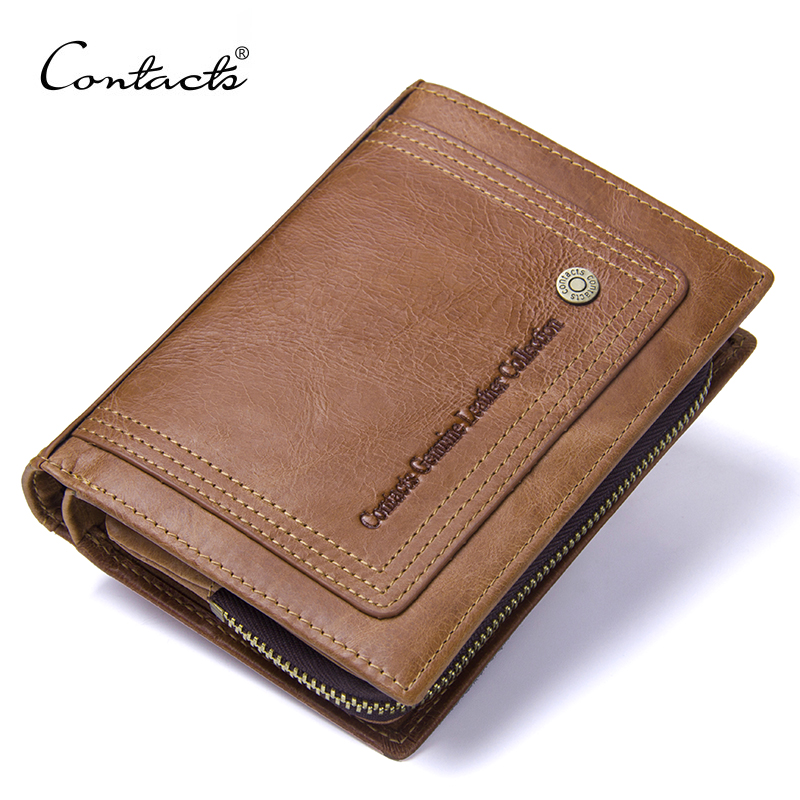 CONTACT'S Vintage Short Men Wallets Genuine Leather Men Wallet Hasp Design With Zipper Coin Purse Card Holder Purses For Male dalfr men genuine leather wallets cowhide male long wallet vintage hasp style coin purse for men card holder with coin pocket