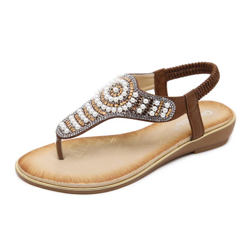 09dc2461d8fea2 2018 Woman Sandals Women Shoes Rhinestones Chains Thong Gladiator Flat  Sandals Crystal Chaussure Plus Size 42 Tenis Feminino
