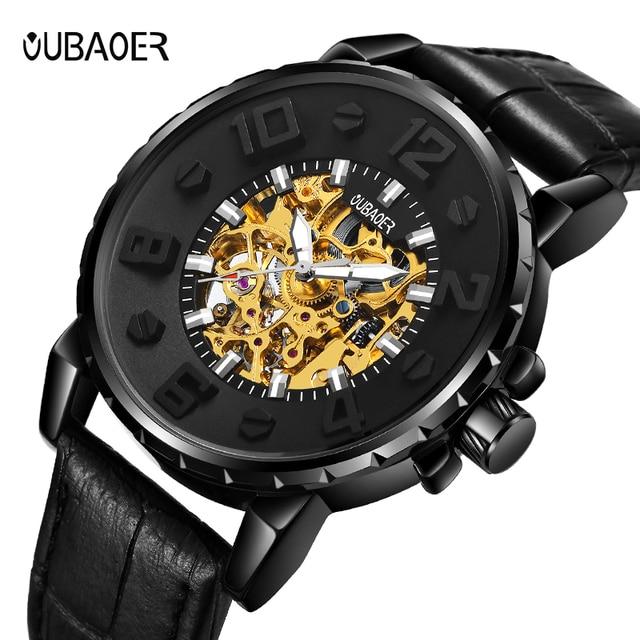 الفاخرة العلامة التجارية OUBAOER الأزياء الذكور التلقائي ساعات آلية الرجال الرياضة العسكرية ساعة معصم relogio masculino ووتش