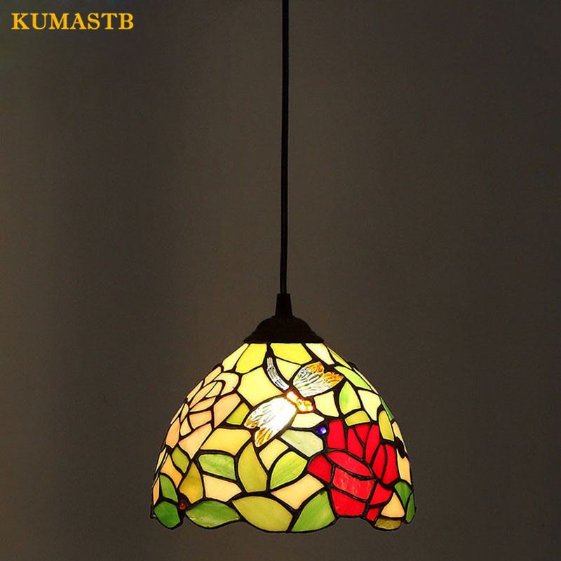 European Art Flowers Pendant Lamp Stained Glass Lampe Balcony Bar Lighting E27 LED For Decor Bedroom Hanging Lights 8 Inch fumat stained glass ceiling lamp european church corridor magnolia etched glass indoor light fixtures for balcony front porch