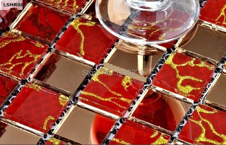 Romantic Red Clear Gold 3D glass mosaic kitchen backsplash Bathroom Home Art DIY meshback Wallpaper sticker design,LSMR08 copper brown resin sticker fireplace kitchen backsplash wall tiles vintage drawbench metal mosaic meshback home wallpaper lsrn03