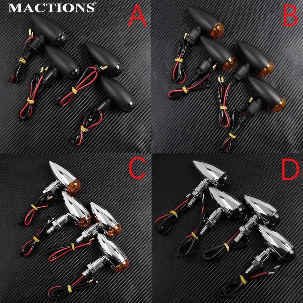4PCS Black Chrome Smoke Amber 10mm Bullet Turn Signal Indicator Light For Harley Sportster Bobber Chopper For Honda For Yamaha