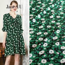 JaneYU Rural Green Flower Chiffon Fabrics Silk-like Crepe Single-layer Impermeable Dress Shirt Women's Cloth(China)