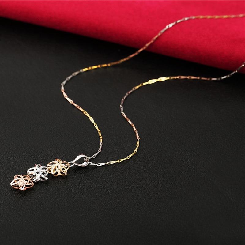 18 k or pendentif véritable bijoux fins charme femmes trois étoiles dame haut de gamme vente chaude mignon classique 2017 nouvelles bonnes étoiles à la mode-in Breloques from Bijoux et Accessoires    3