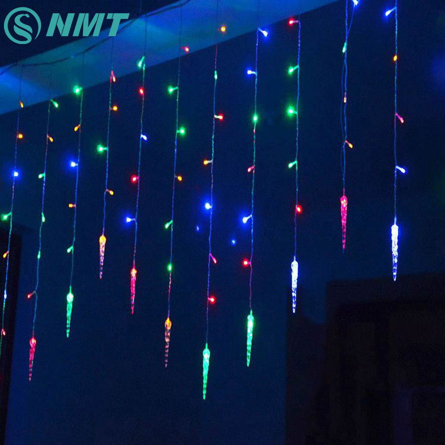 Holiday Lighting 3.5M Colorful Icicle Fairy LED Curtain String Lights Garland Outdoor Decoration Christmas LED Light 8 Modes