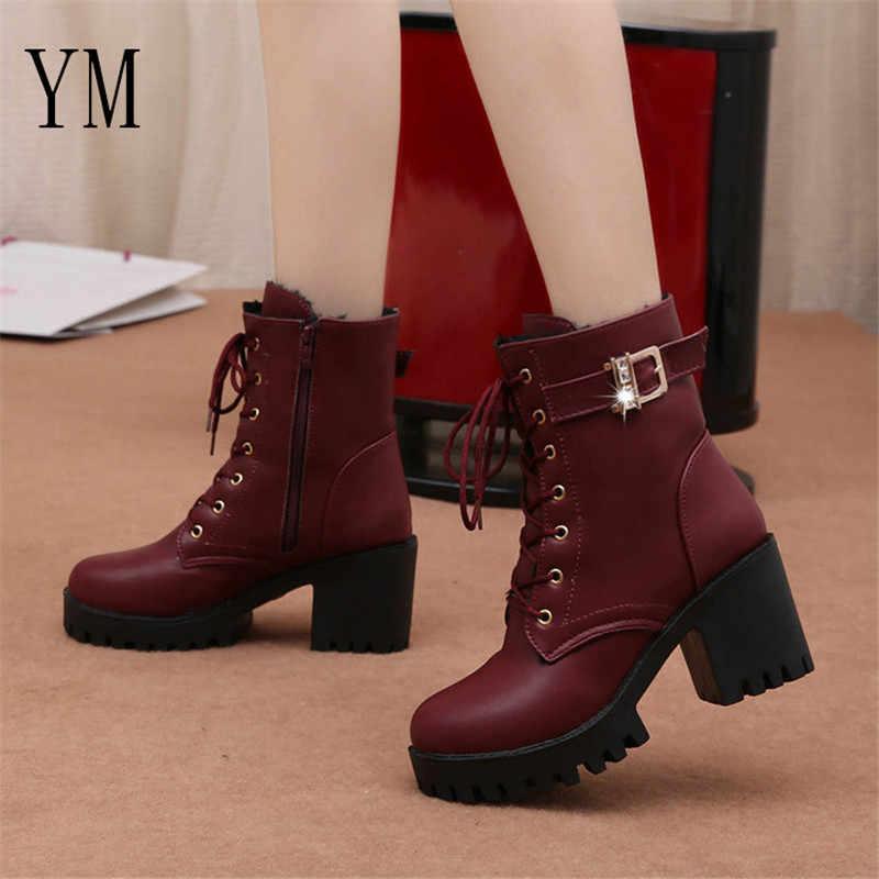 Sıcak Satış 2018 Marka Bayan Botları Lace Up Düz Biker Savaş Şarap Kırmızı Çizmeler Ayakkabı Toka Kadın botas Kadın Martin çizmeler Boyutu 35-39