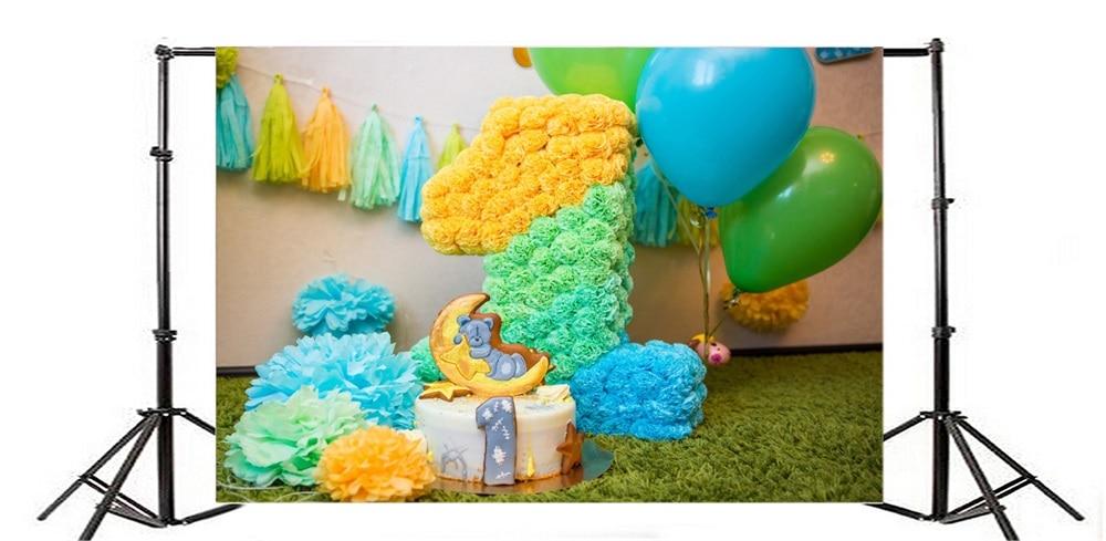 Laeacco Ballon Baby 1e verjaardagstaart Bloemendecor Deken - Camera en foto - Foto 3