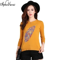 Winter Sweaters Women Ponchos Ladies Pullover Casual Wool Beading Leaf Women Crop Sweater Feather Embroidery Pull Long Femme Top