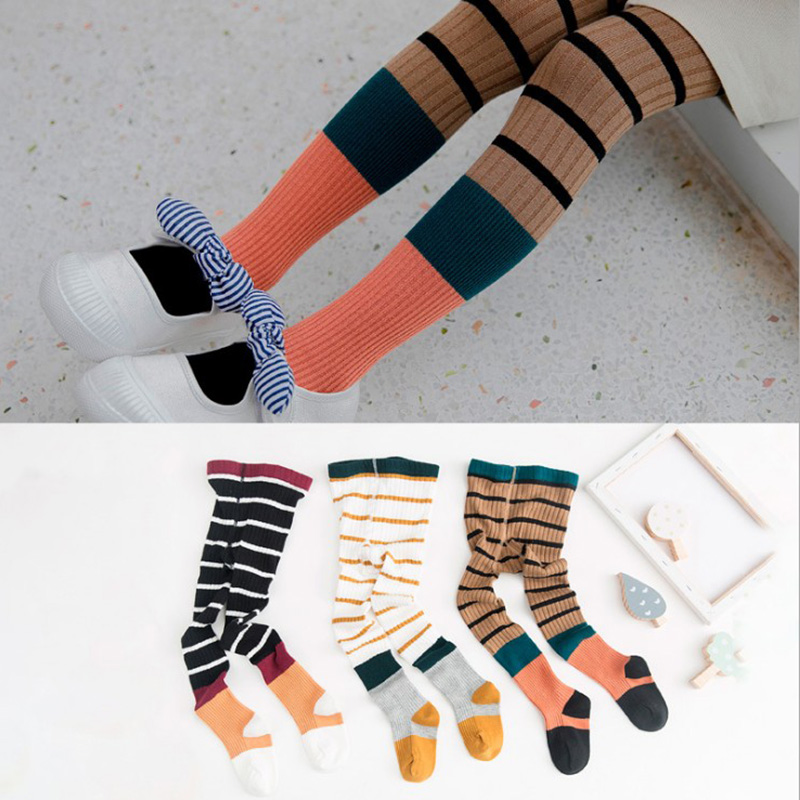Girls Baby Striped Tights Cotton  Children Striped Patchwork Stocking Kids Striped Pantyhose For Girls