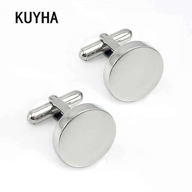Silver Round Engraved Cufflinks For MenS Wedding Clothing