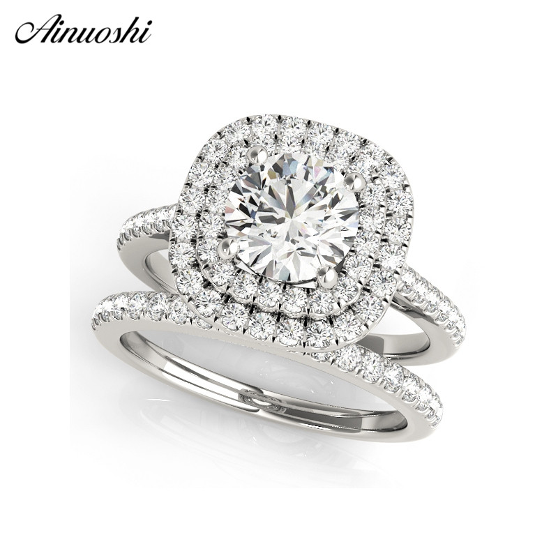AINUOSHI 925 Sterling Silver Women Wedding Engagement Ring Sets Double Halo 1ct Round Cut Wedding Ring