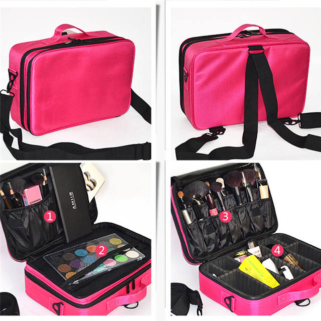 Fangnymph New Large Capacity Oxford Fabric Cosmetic Bag 3 Compartment Makeup Storage Organizer Travel Luggage