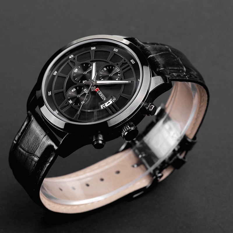 7be73037e250 Fashion Curren 8137 Brand Business Black Man Wrist watch Date Genuine  Leather waterproof Casual wristwatch Male Relojes hombre-in Quartz Watches  from ...