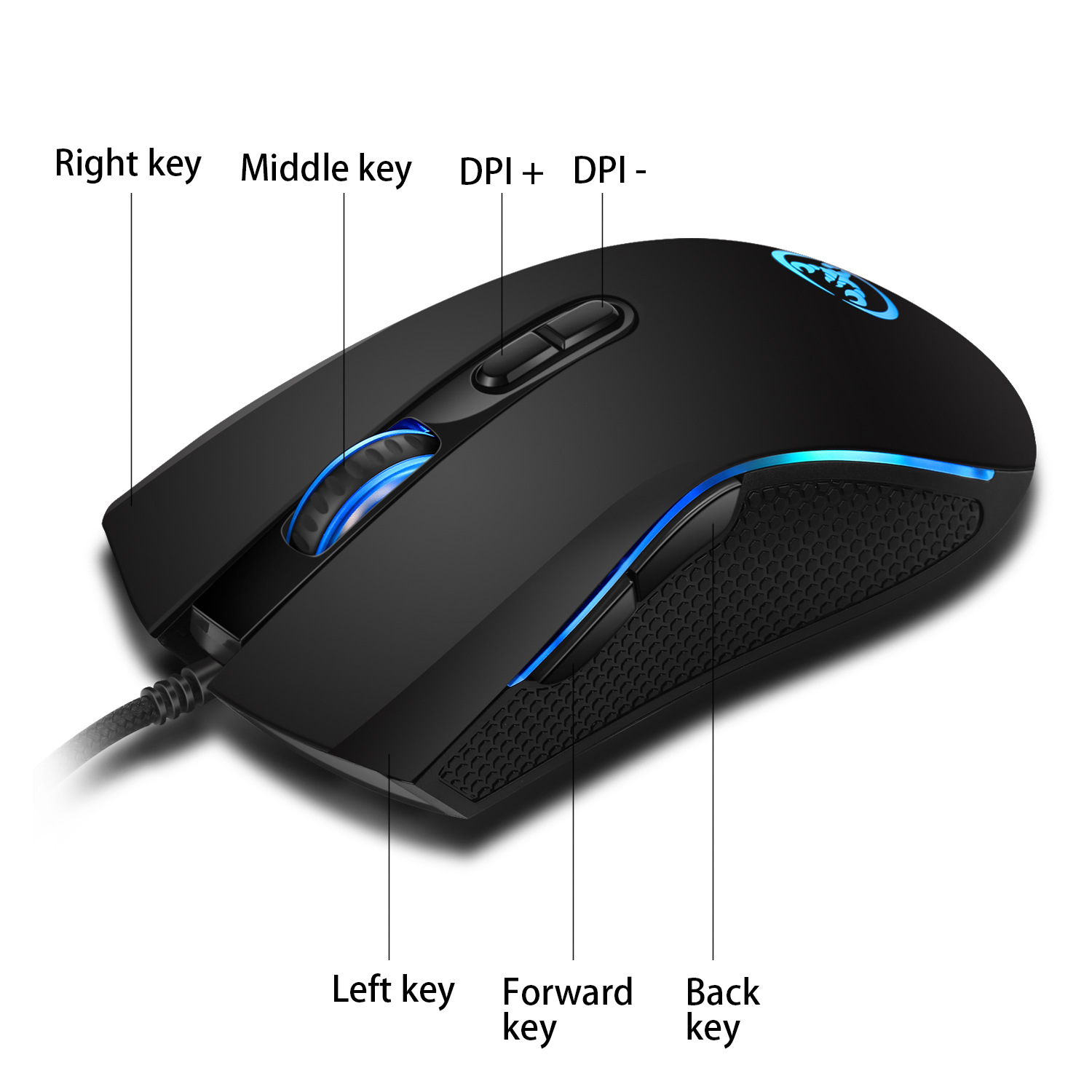 Hongsund  High-end optical professional gaming mouse with 7 bright colors LED backlit and ergonomics design For LOL CS 5
