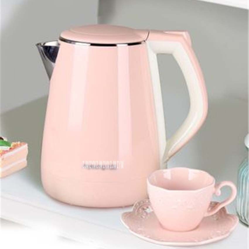 цена на 1.5L capacity Electric Kettles Food grade Stainless Steel Heat Preservation And-Anti burning Electric Kettle Pink K15-F623 220V