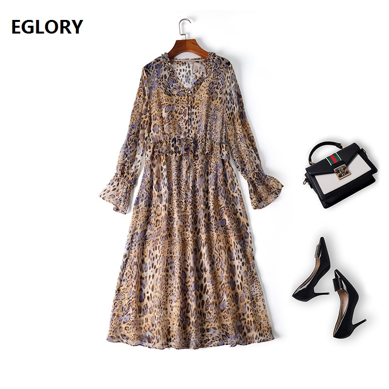High Quality Brand Silk Dress 2019 Spring Summer Casual Party Club Dress Women V-Neck Sexy Wild Leopard Print Long Sleeve Dress