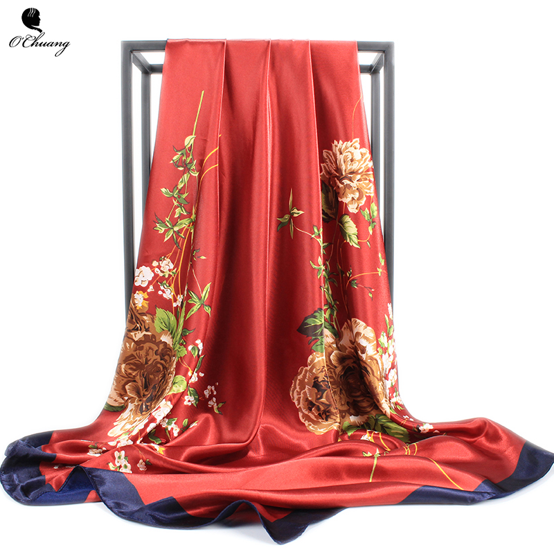 Fashion Satin Silk Scarf Women Flower Print Large Luxury Brand Shawl Head Foulard Soie Square Scarves Ladies 90X90CM