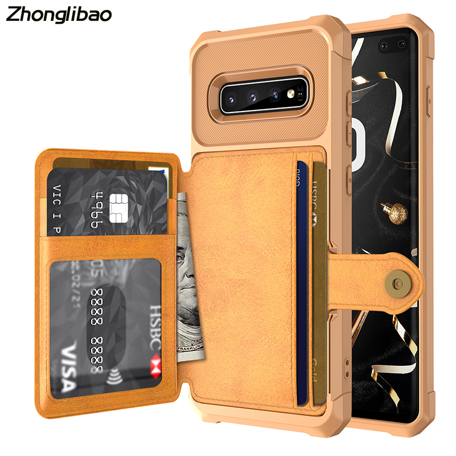 Deluxe Multi-function Leather Wallet Cover for <font><b>Samsung</b></font> Galaxy S10 Plus <font><b>S10e</b></font> Card Holder Hybrid Silicone Bumper Back Cover image