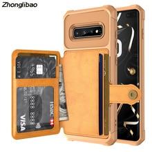 Deluxe çok fonksiyonlu deri cüzdan kapak Samsung Galaxy S10 artı S10e kart tutucu hibrid silikon tampon arka kapak