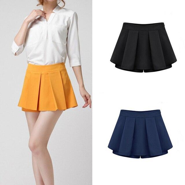 Mujeres al por menor del verano falda corta ocasional con gradas faldas mujer de talle alto falda plisada Culottes femenino de asia / etiqueta del tamaño S-2XL