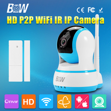 Wifi IP Camera HD 720P P2P Pan 120 Tilt 355 Infrared IR Wireless Door Sensor CCTV