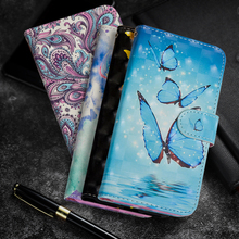 Butterfly Painting Flip cell Phone Case For ZTE Blade A6 A 6 Stand Wallet PU Leather + Soft TPU Cover sFor ZTE A6 Blade Coque