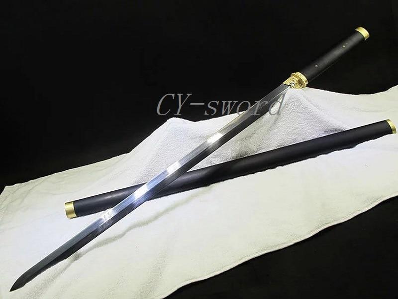 Ruční kovací vzor skládací ocelová čepel Longquan meč Stick & meč měděné plátované kování Ebony Saya