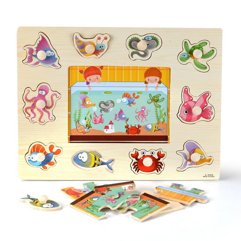 Montessori Wooden Puzzles Hand Grab Boards Toys Tangram Jigsaw Baby Educational Toys Cartoon Vehicle Animals Fruits 3D Puzzles 3