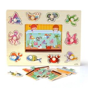 Image 3 - Rompecabezas de madera Montessori para bebé, tablas de agarre manual, Tangram de juguete, rompecabezas para bebé, juguetes educativos dibujo animado, vehículo, animales, frutas, 3D