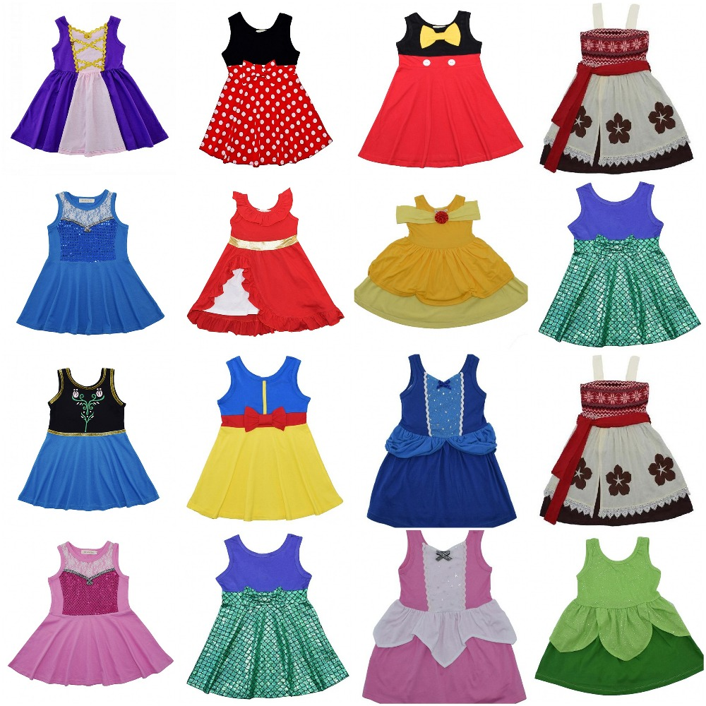 girls clothes kids clothes girls dresses Moana elsa anna belle mermaid snow white dress