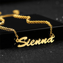 лучшая цена Handmade Personalized Name Pendant Necklace For Women Stainless Steel Gold Chain Customized Nameplate Necklace