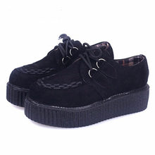 2017 Creepers Shoes Flat Women Shoes Fashion Creepers Platform Shoes Suede Black