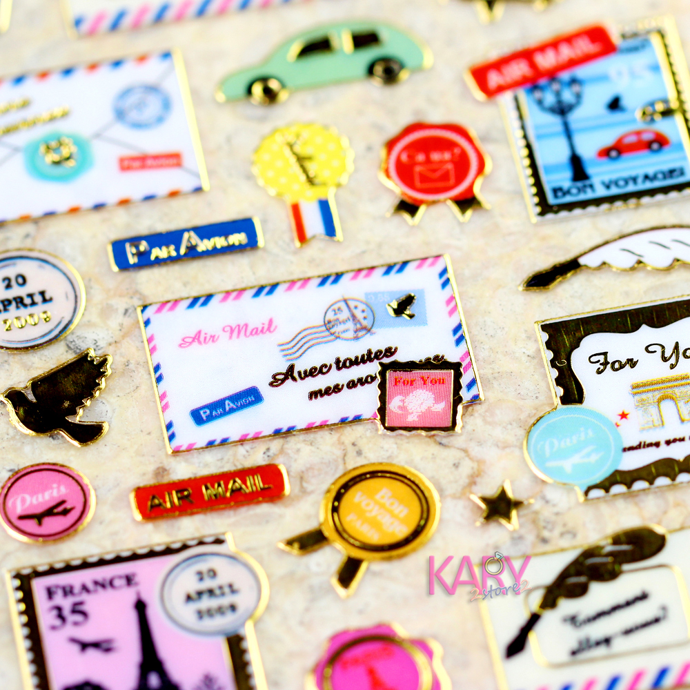 US $0 99 |Envelopes Letters Air Mail Stamps Ink Bottles Travel Retro  Scrapbooking Shiny Gilded Foil Stickers Reward Kids Toys For Children-in  Stickers