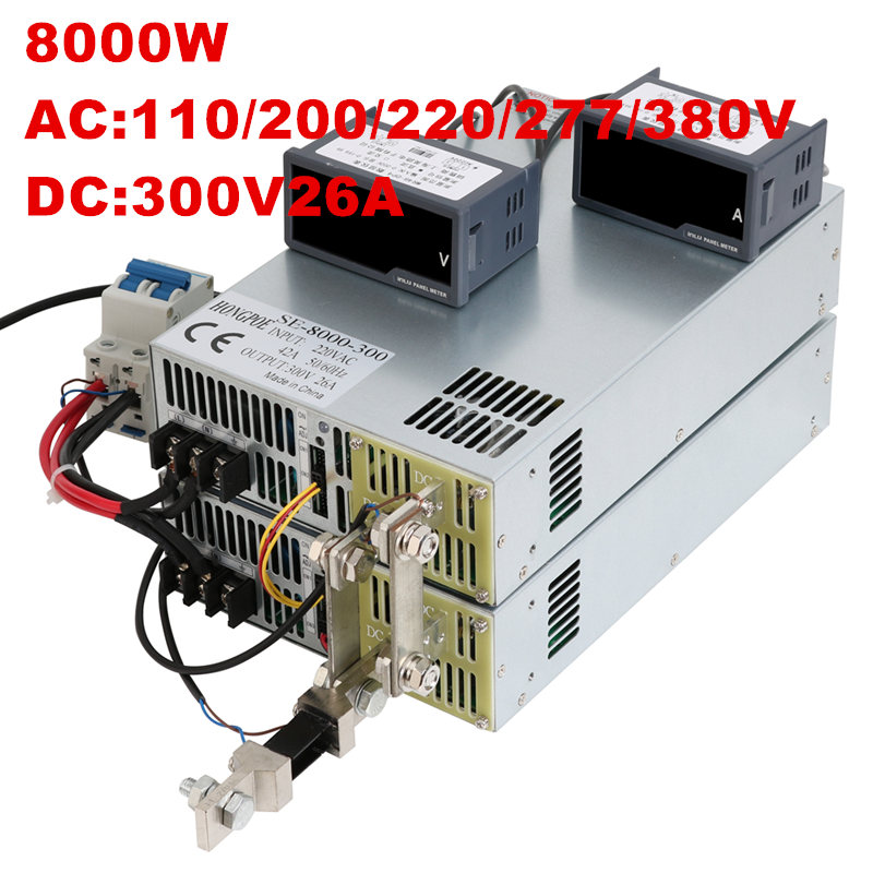 8000W 300V 26A 0-300V power supply 300V 26A AC-DC High-Power PSU 0-5V analog signal control DC300V 26A 110V 200V 220V 277VAC цены