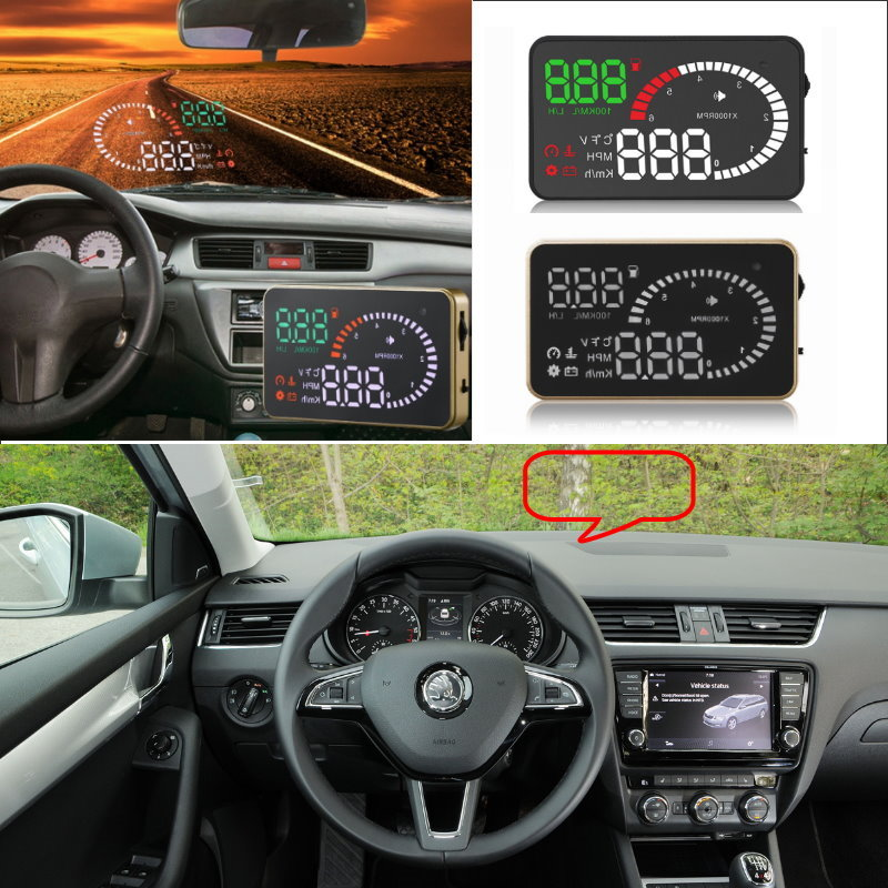 Liislee Car HUD Head Up Display For Skoda Octavia 2 A5 A7 Rapid Fabia Yeti Superb 2- Safe Screen Projector / OBD II Connector skod octavia daytime light 2015 2017 chrome free ship led octavia fog light 2pcs set superb yeti fabia rapid octavia