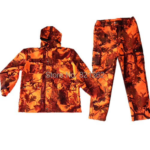 18fd168a5e01a Waterproof Orange Realtree Camo Hunting Clothes Orange Camouflage Jacket  Suits for Hunter