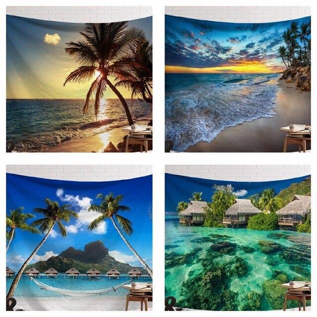 CAMMITEVER Sunset Blue Green Sea Coconut Tree Sandy Beach Tapestry Wall Hanging Tapestries Boho Bedspread Yoga Mat Blanket