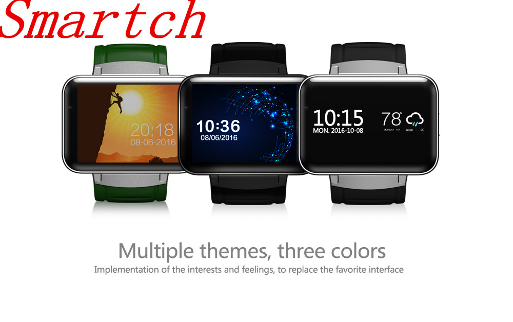 Smartch DM98 Bluetooth Smart Watch 2.2 inch Android 4.4 OS 3G Smartwatch Phone MTK6572 Dual Core 1.2GHz 4GB ROM 1.3mp Camera WCD