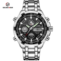 Men's Digital Quartz Clock Full Steel Waterproof New Luxury Brand Men Military Sport Watches Wrist Watch relogio masculino
